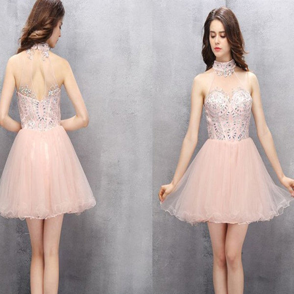 New Arrival light pink halter off shoulder sexy homecoming prom gown dress, TYP0126
