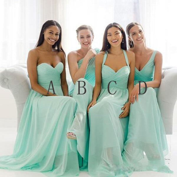 Mismatched Mint Chiffon Different Styles Junior Simple A Line Formal Floor-length Bridesmaid Dresses, TYP0104