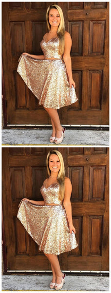 Sparkly Simple V Neck Cheap Two Piece Sequin Homecoming Dresses 2018, CM495