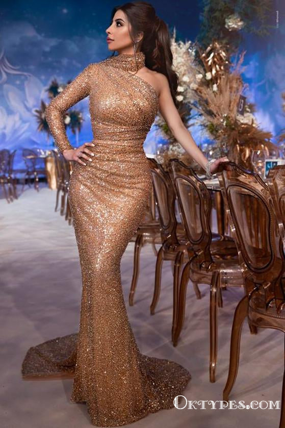 Gorgeous High-Neck One-Shoulder Mermaid Long-Sleeves Prom Dresses, TYP1928