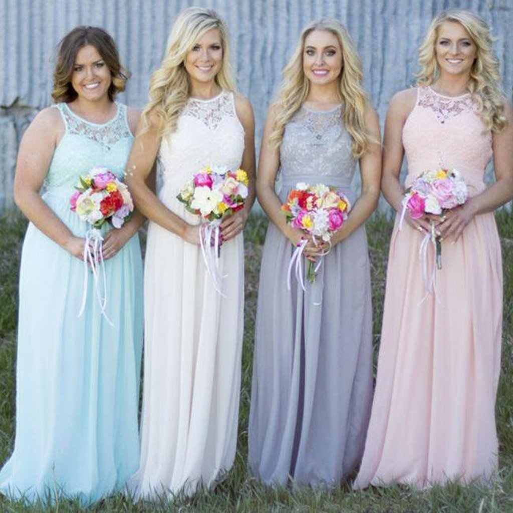 Off Shoulder Small Round Neck Top Lace Different Colors Chiffon Floor-Length Cheap Maxi Bridesmaid Dresses, TYP0142
