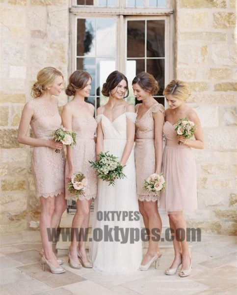 Mismatched Junior Pretty Short Lace Knee-Length Blush Pink Mini Custom Make Discount Bridesmaid Dress, TYP0410