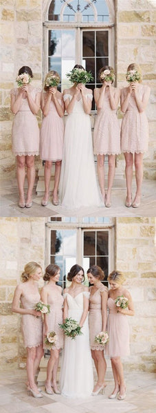 Mismatched Junior Pretty Short Lace Knee-Length Blush Pink Mini Custom Make Discount Bridesmaid Dress, TYP0103