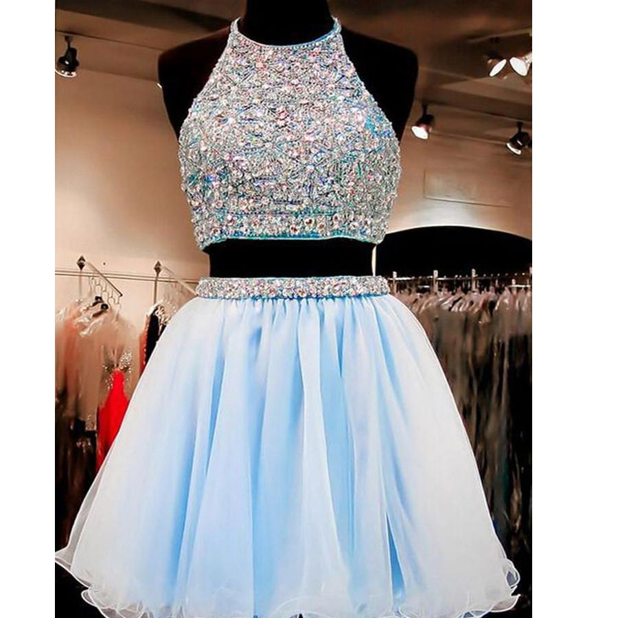New Arrival two pieces halter sparkly backless crop tops freshman homecoming prom gowns dress, TYP0135