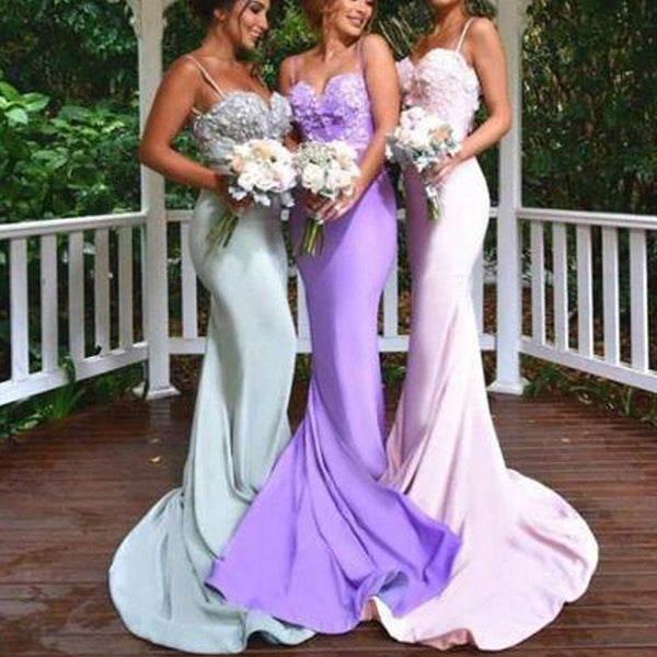 New Arrival Online Sexy Mermaid Backless Spaghetti Strap Sweet Heart Lace Long Bridesmaid Dresses, TYP0128