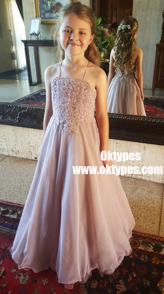 A-Line Spaghetti Straps Lilac Chiffon Flower Girl Dress with Appliques, TYP0969