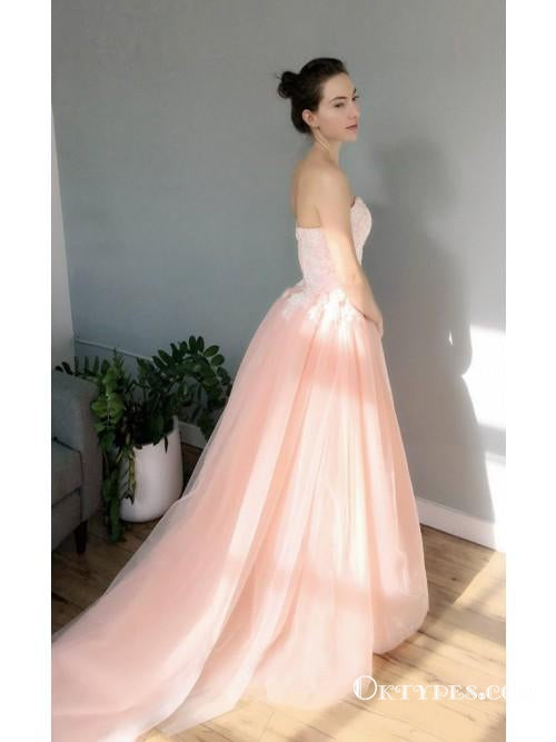 A-Line Sweetheart Neck Sleeveless Pink Long Prom Dresses with Appliques, TYP1863