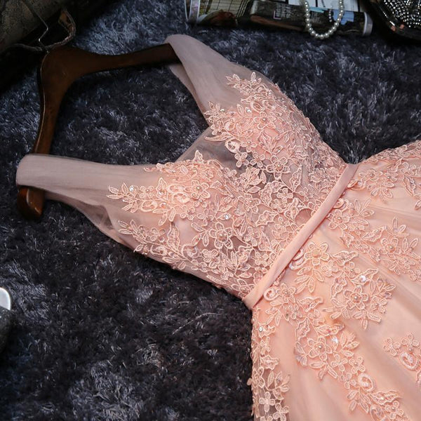 Cheap V Neck Peach Lace Beaded Cute Homecoming Dresses, CM445