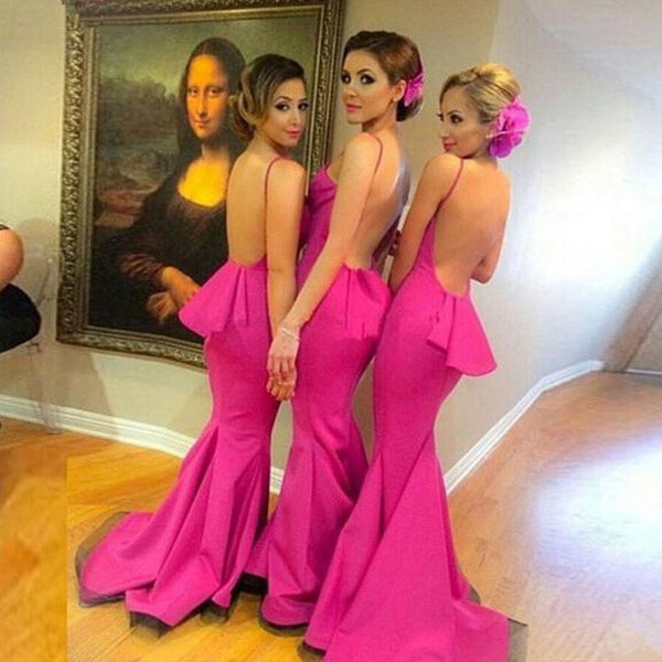 On Sale Beautiful Sexy Backless Mermaid Young Girls Rose Red Long Bridesmaid Dresses with Small Train, TYP0146