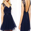 Navy blue cap sleeve chiffon open back simple casual cheap homecoming prom dress, TYP0117