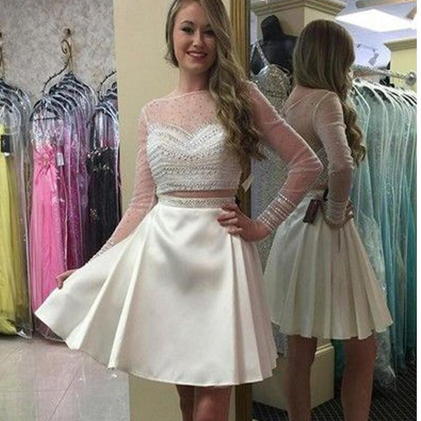 Long sleeve white two pieces simple see through homecoming prom dresses, TYP0101