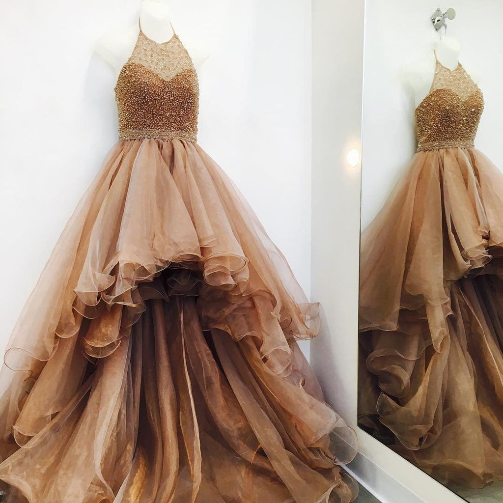 Hi-low Halter Beaded Tulle Prom Dresses, Popular Prom Dresses, Cheap Prom Dresses, TYP0048