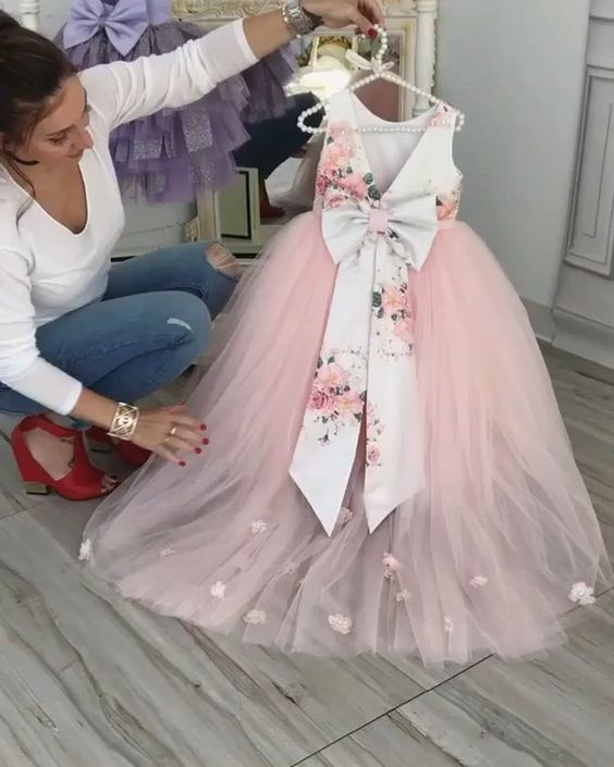 Beautiful Floral Printed V-Back Pink Tulle High Low Flower Girl Dresses With Flower Appliques, TYP1092