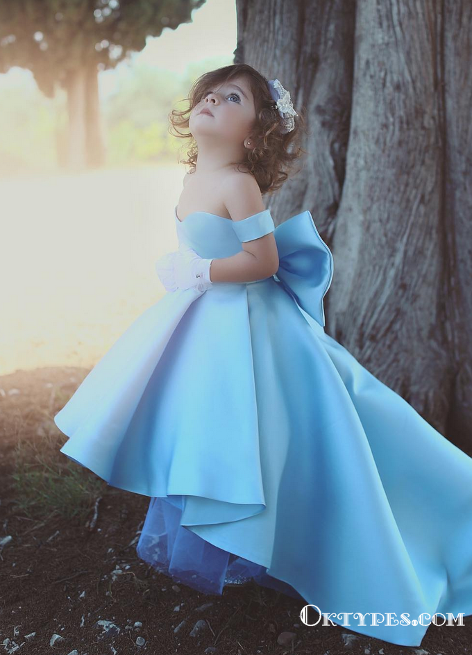 Lovely Bow Simple Blue Satin Off-the-Shoulder Flower-Girls Dresses, TYP1955