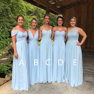 Blue Chiffon Bridesmaid Dresses, Lace Cheap Long Bridesmaid Dresses, TYP1206