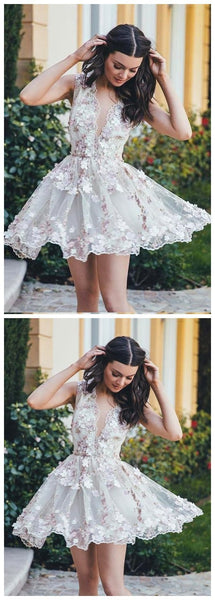 V Neck Lace Handmade Flower Cute Cheap Short Homecoming Dresses 2018, CM557