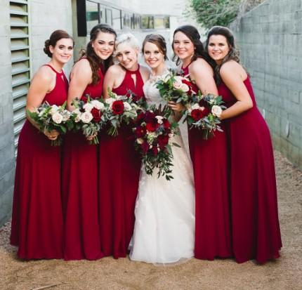 Red Chiffon Bridesmaid Dresses, A-line Cheap Long Bridesmaid Dresses, TYP1204