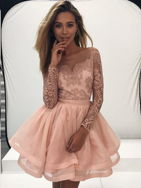 4d98d625a4da A-Line Bateau Plush Pink Long Sleeve Tulle Homecoming Dresses with Appliques,  TYP1081