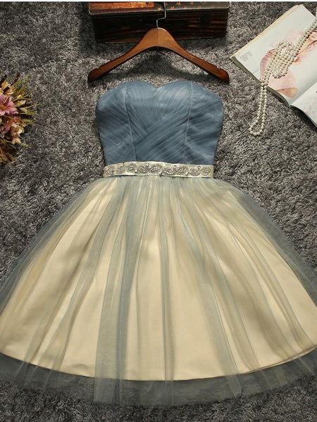 Strapless Beaded Belt Two colors Skirt Homecoming Prom Dresses, Affordable Short Party Prom Sweet 16 Dresses, Perfect Homecoming Cocktail Dresses, CM566