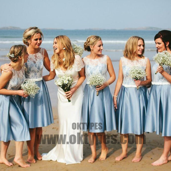 Popular Junior Pretty Blue Satin White Lace Short Bridesmaid Dresses for Summer Beach Wedding Party, TYP0400