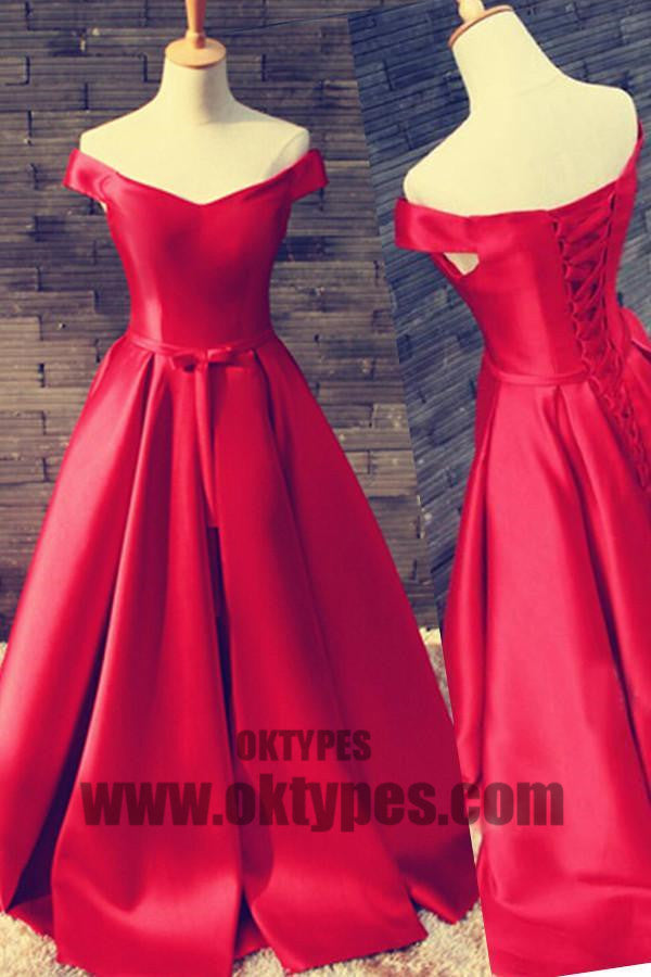 A-line Long Prom Dresses, Red Floor Length Prom Dresses, Off-shoulder Prom Dresses, Lace Up Prom Dresses, TYP0190