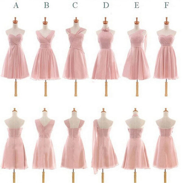 Pretty Chiffon Mismatched Different Styles Blush Pink Knee Length Cheap Bridesmaid Dresses, TYP0180