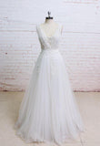 Backless V Neck Lace A-line Cheap Wedding Bridal Dresses, Wedding Dresses, TYP0499