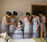 Silver Tulle Elegant Long Cheap Wedding Party Bridesmaid Dresses for Pregnant Girls, TYP0385