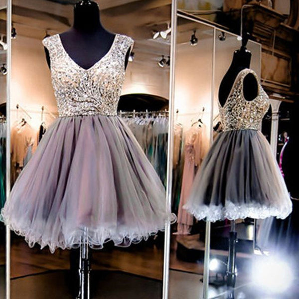 Grey sparkly V-neck charming Evening party Ball Gown homecoming prom gown dresses, TYP0086
