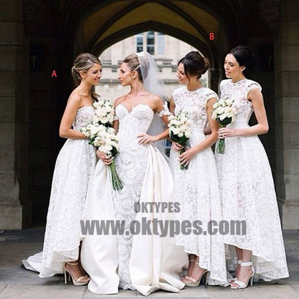Gorgeous White Lace Mismatched Styles Hi Lo Pretty Long Bridesmaid Dresses for Wedding Party, TYP0384