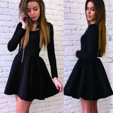 Long sleeve black stain simple graduation freshman harming homecoming prom dress, TYP0093