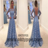 Light Blue Long Prom Dresses, Lace Prom Dresses, Long Sleeve Prom Dresses, Open-back Prom Dresses, TYP0077