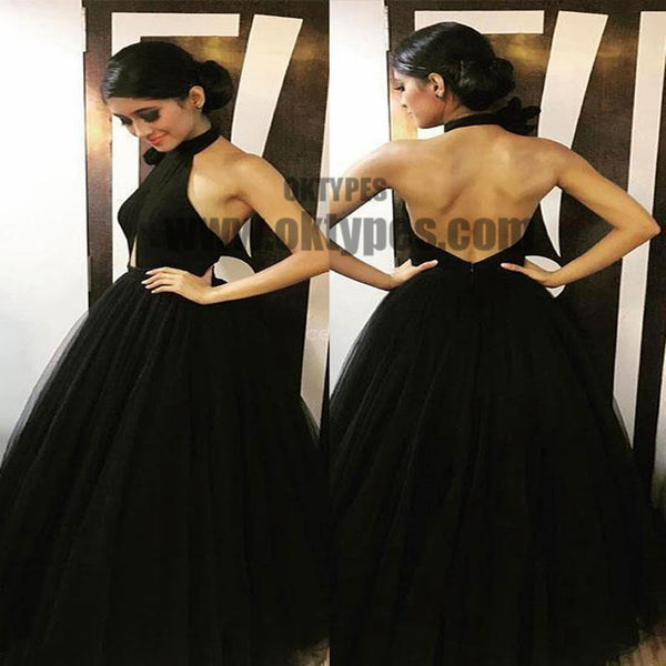 Black Long Floor Length Prom Dresses, Halter Prom Dresses, Backless Prom Dresses, Sexy Prom Dresses, TYP0304