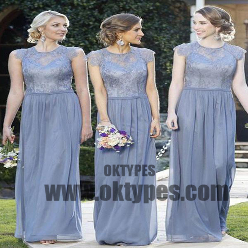 Chiffon Bridesmaid Dress, Simple Modest Lace Cheap Long Bridesmaid Dress, TYP0439