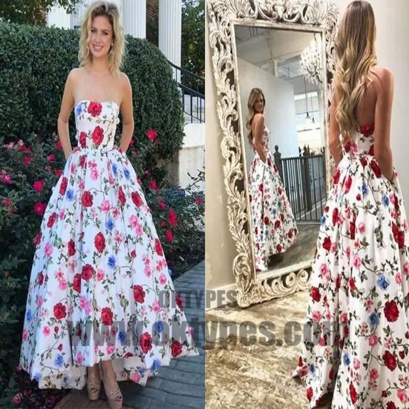 2018 Newest Sweetheart Sleeveless Flower Printed A-Line Floor Length Prom Dress, Prom Dresses, TYP0345