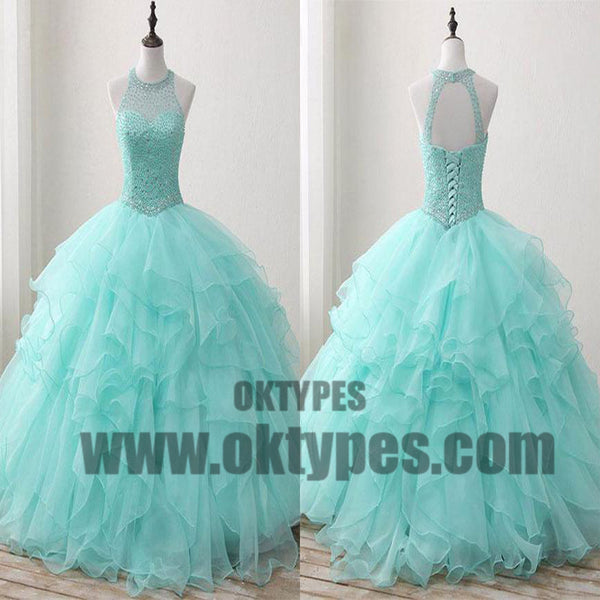 Ball Gown Long Green Sleeveless Open Back Lace up Beads High Neck Prom Dresses, TYP0465