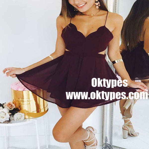 3d0527e6a3e A-Line Spaghetti Straps Cut-Out Burgundy Chiffon Homecoming Dress ...