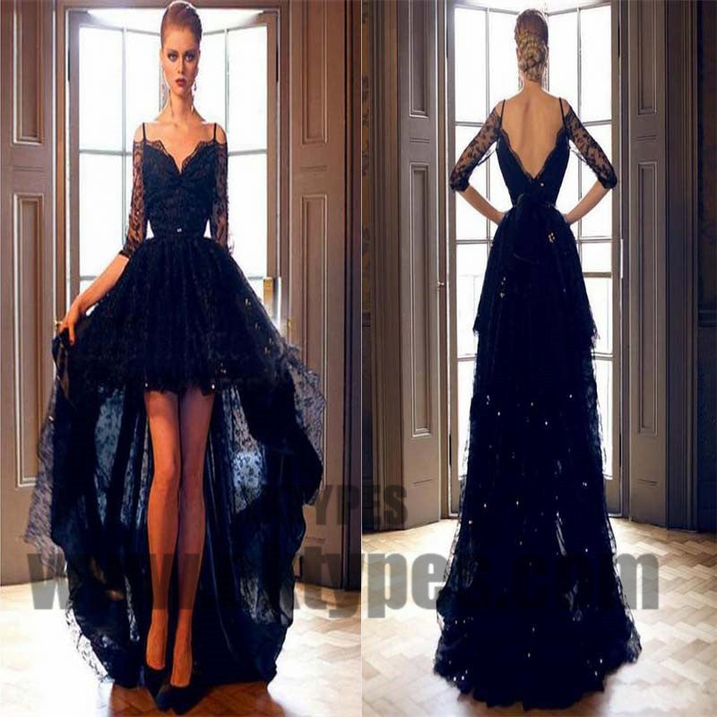 Black High Low Mermaid Prom Dresses, Lace Prom Dresses With Beading, Half Sleeve Prom Dresses, Backless Prom Dresses, TYP0275