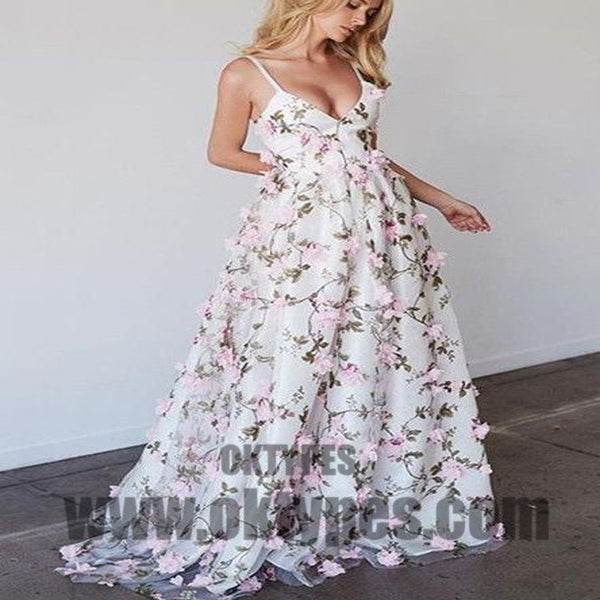 2018 Floral Pink Prom Dress Lace Long Prom Dress, Handmade Flower Prom Dresses, TYP0396