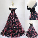 2018 Newest Off The Shoulder Top Satin Lace Up Flower Printed Tulle A-Line Long Prom Dress, Prom Dresses, TYP0411