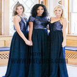 Two Piece Chiffon Bridesmaid Dress Modest Cheap Simple Long Bridesmaid Dress, TYP0437