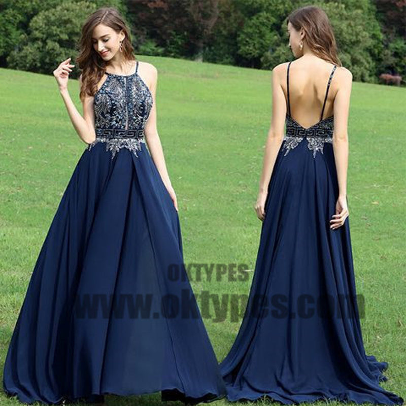 Navy Blue Chiffon Prom Dresses, Sexy Top Beading Halter Strap Prom Dresses, TYP0388