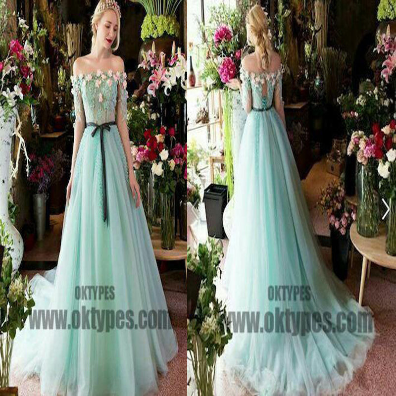 2018 Newest Long Mermaid Prom Dresses, Appliques Prom Dresses With Beading, Open-Back Prom Dresses, TYP0329