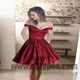 Simple Off Shoulder Red Short Cheap Homecoming Dresses 2018, TYP0491