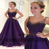Long Floor Length Prom Dresses, Ball Gown Prom Dresses, Beading Prom dresses, Scoop Prom dresses, TYP0284
