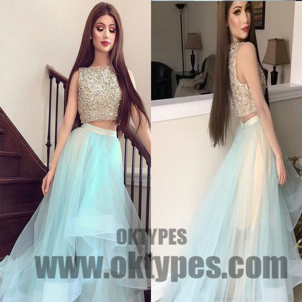 2018 Newest Two Piece Top Beading Tulle Prom Dresses High Low Prom