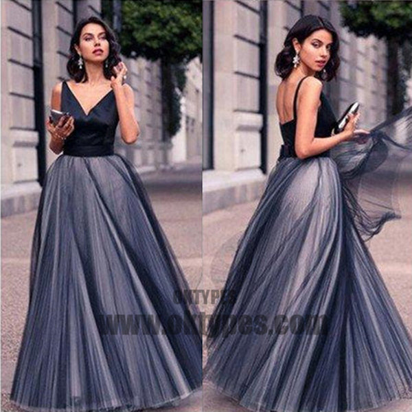 Long Floor Length Prom Dresses, V-neck Tulle Prom Dresses, Backless Prom Dresses, A-line Prom Dresses, TYP0213