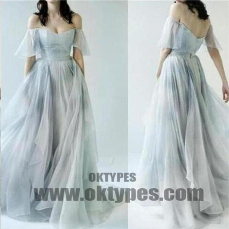 2018 Newest Off The Shoulder Sweetheart Open Back A-Line Chiffon Floor Length Prom Dress, Charming And Cheap Prom Dress, Prom Dresses, TYP0326