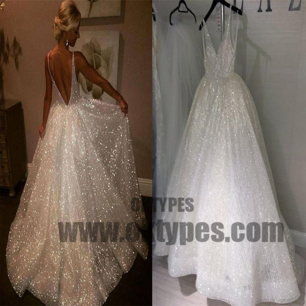 9df7b01bbe2 Sequins V-Neck Ivory Backless A-Line Sleeveless Elegant Plus Size Prom  Dresses