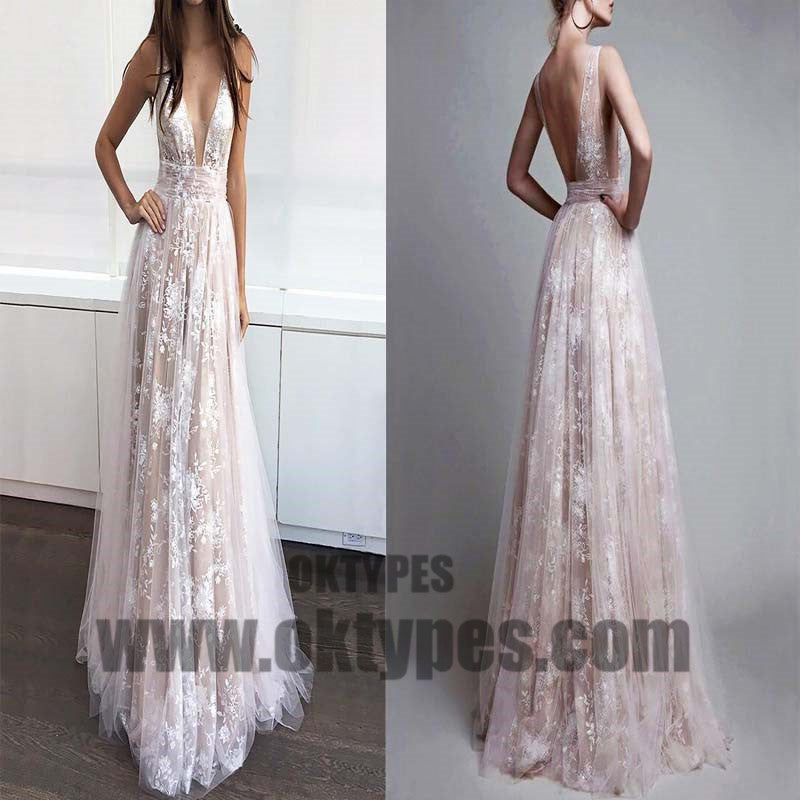 Long Floor Length White Lace Prom Dresses, Sexy Deep V-neck Prom Dresses, Backless Prom Dresses, TYP0274